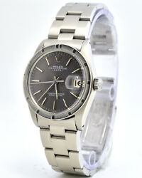 Rolex Date 1501 Oyster Perpetual Automatic With Grey Dial And Engine Turned Bezel