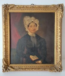 Antique English Naïve Oil Painting Of A Portrait Of A Woman On Tin 1827