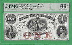 18xx Bank Of The Empire State, Rome Ga 1 Proof Note Graded 66epq 56031