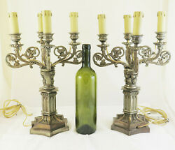 Lamp Pair Of Candlesticks In Metal Lamps Fl Vombach Offenbach Ch4