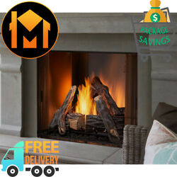 Majestic Courtyard Outdoor Gas Fireplace 36 Odcoug-36 Stainless Steel Hd Logs