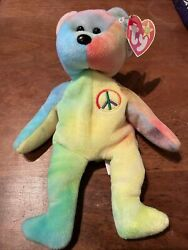 """1996 Ty Beanie Baby """"peace"""" Bear Style 4053  Rare Production And Tag Errors"""