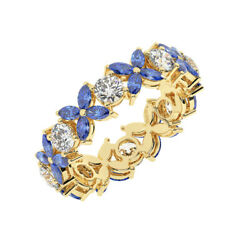 2.50ct Claw Set Round And Marquise Blue Sapphire Full Eternity Ring In 18k Yg
