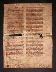 Manuscript Noted Choir Breviary From C.1450 W Music Written On Parchment
