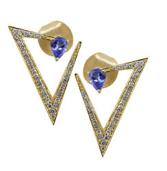 1.92ct Round Diamond 14k Solid Yellow Gold Sapphire Butterfly Lock Stud Earring