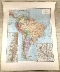 1906 Antique Map Of South America Brazil Bolivia Chile Large German Lithograph