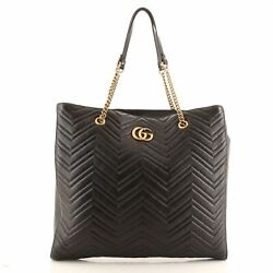 Gg Marmont Zip Tote Matelasse Leather Large