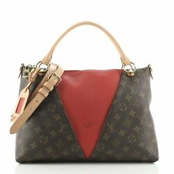 Louis Vuitton V Tote Monogram Canvas And Leather Mm