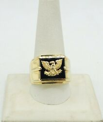 14k Yellow Gold Coat Of Arms Eagle Black Oyx Ring Size11 16mm 10.6g S2921