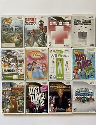 Nintendo Wii Video Game Lot Of 12 Disney Fishing Kids Just Dance. Tested Working