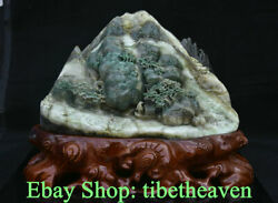 11.8 China Natural Dushan Green Jade Carving Old Man Mountain Scenery Statue