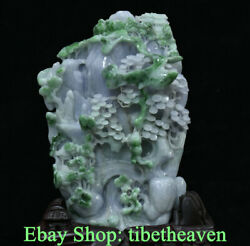 12.2 Chinese Natural Emerald Jade Ice Emerald Scenery Old Man Mountain Statue