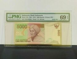 2015 Indonesia, Bank Indonesia, 5000 Rupiah P-142o Solid 888888 Pmg 69 Epq