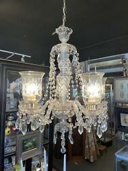 1930s Hollywood Style Clear Crystal Five Light Chandelier Ceiling Fixture