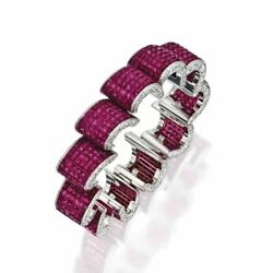 Ruby Cz Bracelet Solid 925 Sterling Silver Invisible Set Anniversary Gift Her