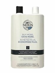 Nioxin System 2 Cleanser Shampoo And Scalp Therapy Conditioner 33.8 Oz Duo