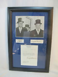 John F Kennedy And Dwight Eisenhower Signed Autograph Photo And Columbia Univ Letter
