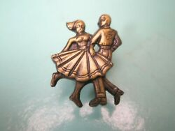 -square Dancers Vintage Tie Tack Lapel Pin American Traditional Western Line