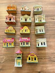 14 Vintage Made In Japan Ceramic Christmas Village Houses // Great Condition