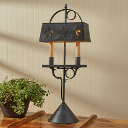 Primitive Country Farmhouse Black Punched Star Adjustable 2 Taper Candle Lamp