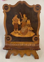 Antique Quality Marquetry Wood Inlay Book Stand Rest 15andrdquo Foldable Clean