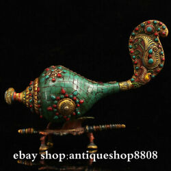 Tibet Buddhism Shell Conch Whelk Sea Snail Charonia Horn Bronze Coral Turquoise