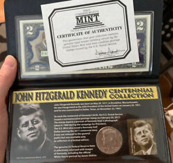 John F Kennedy Centennial Collection Coin And Stamp Set Half Two Dollar Bill