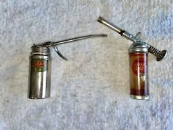 Vintage Plews Oiler Pump Oil Can And Universals Little Lube Hand Grease Gun Pair