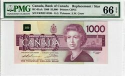 Canada 1000 Dollar Banknote 1988 Bc-61aa Pmg Gem Unc 66 Epq Replacement Star