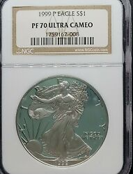 1999-p Ngc Pf70 Ucam Certified American Silver Eagle Dollar Classic Brown Label