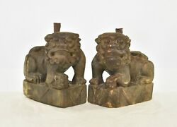 Pair Antique Chinese Wood Carved Statue Fu Foo Dog Lion W Incense Holder, 19th C