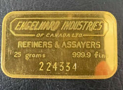 🔥25g Engelhard Industries Of Canada 999.9 Vintage Gold Bar Rare Collectible 🔥