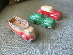 Vintage 1930s Sun Rubber Toy Co Molded Vehicles 2 Cars And 1 Truck Child Toys