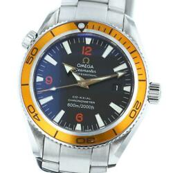 Auth Omega Watch Planet Ocean 2209.50 Automatic Black Orange Case42mm Ss F/s