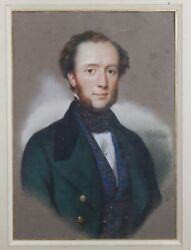 Benedict White 1812-1862 Portrait Of Young Man Drawing Pastel Horace Vernet