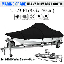 21-23ft Waterproof Boat Cover Marine Grade For V-hull Center Console Boats Black