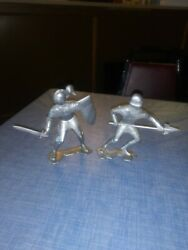 Lot Of 2 Vintage 1964 Marx Toys 6 Inch Silver Knight's Figures