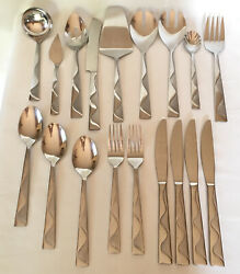 16pc Jazz Wave Jcpenney Home Collection Stainless Flatware Frosted Satin Serving