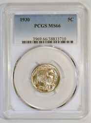 1930 Buffalo Nickel Coin From The Philadelphia Mint Graded Ms66 By Pcgs