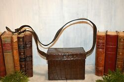 Antique English Embossed Croc Leather Hunting Travel Case Bag Box With Strap