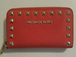 Michael Kors Red Leather Clutch Wallet with Studs $30.00