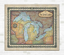 Great Lakes Superior Michigan Map Art On Wood/metal Vintage Wall Decor And Gift
