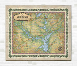 Hartwell Georgia Lake Map Art On Wood/metal Great Vintage Wall Decor And Gift