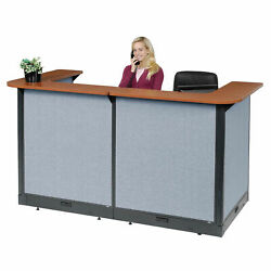 88w X 44d X 46h U-shaped Electric Reception Station Cherry Counter/blue