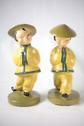 Vintage Ann Dyer Asian Oriental Chinese Chalkware Statues Pair Traditional Garb