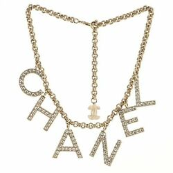 Cha-nel Logo Necklace Metal With Crystals
