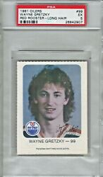 1981 Oilers Red Rooster Wayne Gretzky Long Hair Hockey Card Psa 5 Excellent 1/3