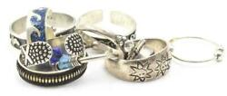10 Different Designs, Sizes Sterling Silver Toe Rings 925 - Hearts, Feet, Stones