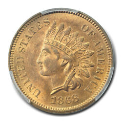 1868 1c Indian Cent - Type 3 Bronze Pcgs Ms65rb Cac