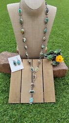 Native American Navajo Sonoran Gold Turquoise And Sterling Silver Lariat Set